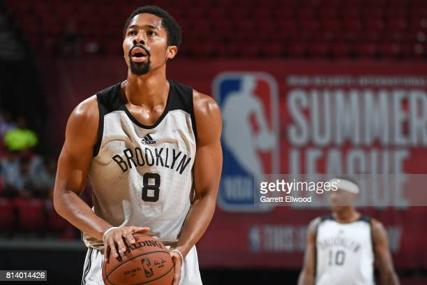 Spencer Dinwiddie of the Brooklyn Nets shoots a foul shot against the Denver Nuggets during the 2017 Las Vegas Summer League game on July 13 2017 at...