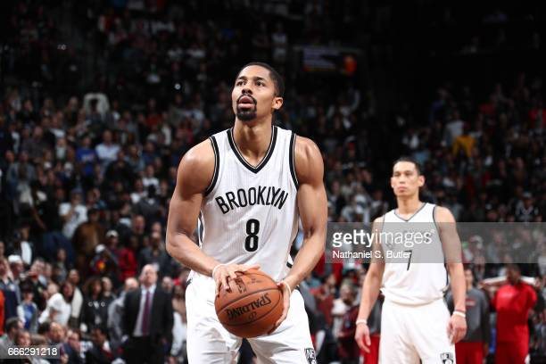 Spencer Dinwiddie of the Brooklyn Nets shoots a free throw against the Chicago Bulls during the game on April 8 2017 at Barclays Center in Brooklyn...
