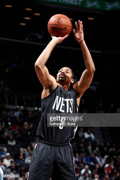 Spencer Dinwiddie of the Brooklyn Nets shoots a free throw during the game against the Toronto Raptors on February 5 2017 at Barclays Center in...