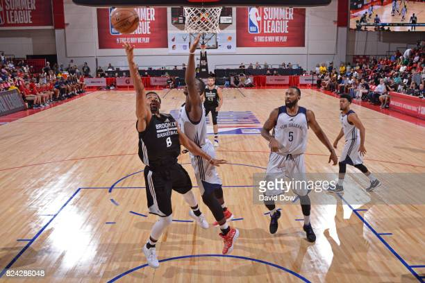 Spencer Dinwiddie of the Brooklyn Nets shoots a lay up during the game against the New Orleans Pelicans during the 2017 Las Vegas Summer League on...