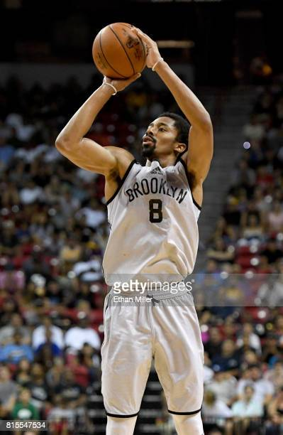 Spencer Dinwiddie of the Brooklyn Nets shoots against the Los Angeles Lakers during the 2017 Summer League at the Thomas Mack Center on July 15 2017...