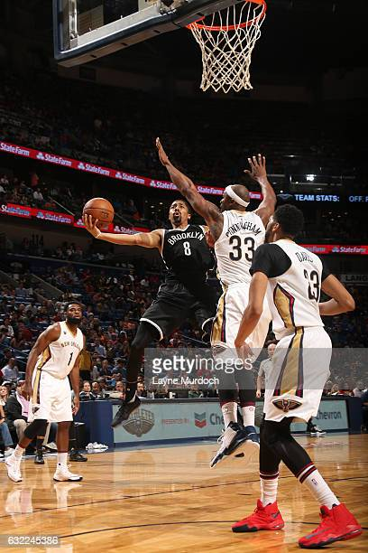 Spencer Dinwiddie of the Brooklyn Nets shoots the ball against the New Orleans Pelicans on January 20 2017 at the Smoothie King Center in New Orleans...