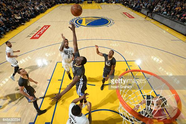 Spencer Dinwiddie of the Brooklyn Nets shoots the ball against the Golden State Warriors on February 25 2017 at ORACLE Arena in Oakland California...