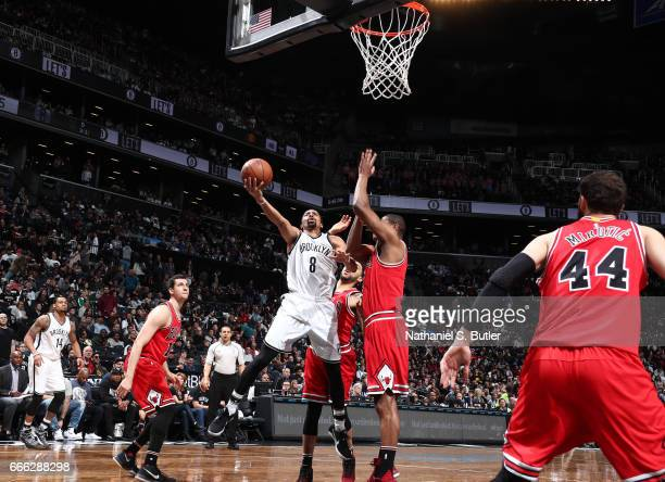 Spencer Dinwiddie of the Brooklyn Nets shoots the ball against the Chicago Bulls during the game on April 8 2017 at Barclays Center in Brooklyn New...
