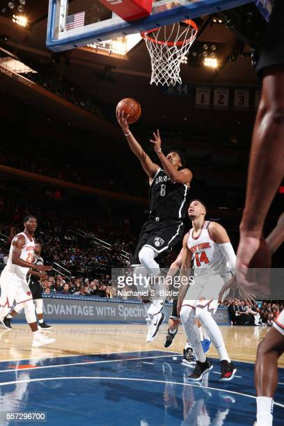 Spencer Dinwiddie of the Brooklyn Nets shoots the ball against the New York Knicks during the preseason game on October 3 2017 at Madison Square...