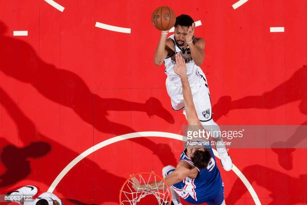 Spencer Dinwiddie of the Brooklyn Nets shoots the ball against the Philadelphia 76ers on October 11 2017 at Nassau Veterans Memorial Coliseum in...