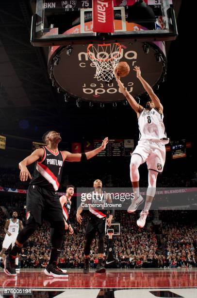 Spencer Dinwiddie of the Brooklyn Nets shoots the ball against the Portland Trail Blazers on November 10 2017 at the Moda Center Arena in Portland...