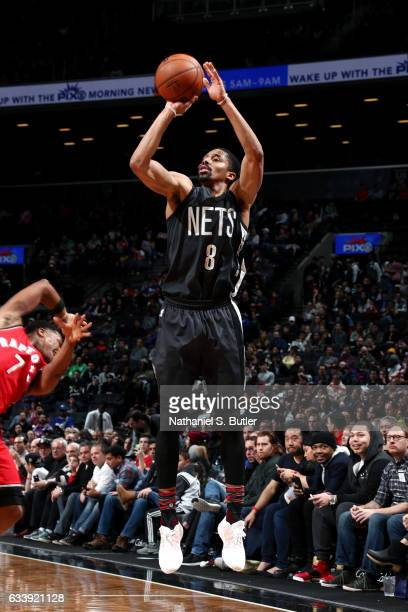 Spencer Dinwiddie of the Brooklyn Nets shoots the ball during the game against the Toronto Raptors on February 5 2017 at Barclays Center in Brooklyn...