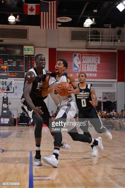 Spencer Dinwiddie of the Brooklyn Nets shoots the ball during the game against Thon Maker of the Milwaukee Bucks during the 2017 Las Vegas Summer...