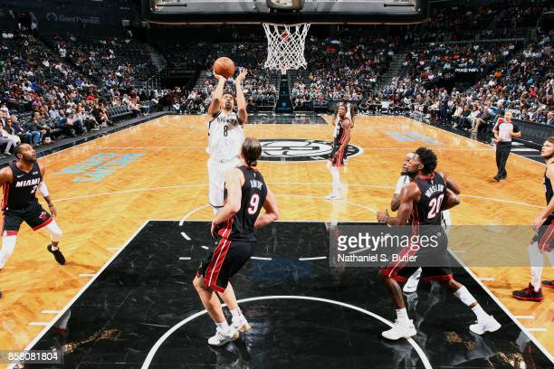 Spencer Dinwiddie of the Brooklyn Nets shoots the ball during the game against the Miami Heat during a preseason game on October 5 2017 at Barclays...