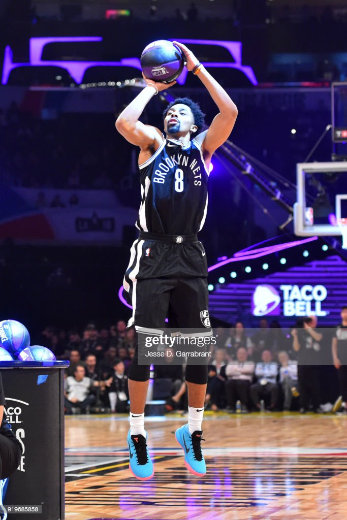 Spencer Dinwiddie #8 of the Brooklyn Nets shoots the ball during the Taco Bell Skills Challenge during State Farm All-Star Saturday Night as part of the 2018 NBA All-Star Weekend on February 17, 2018 at STAPLES Center in Los Angeles, California.