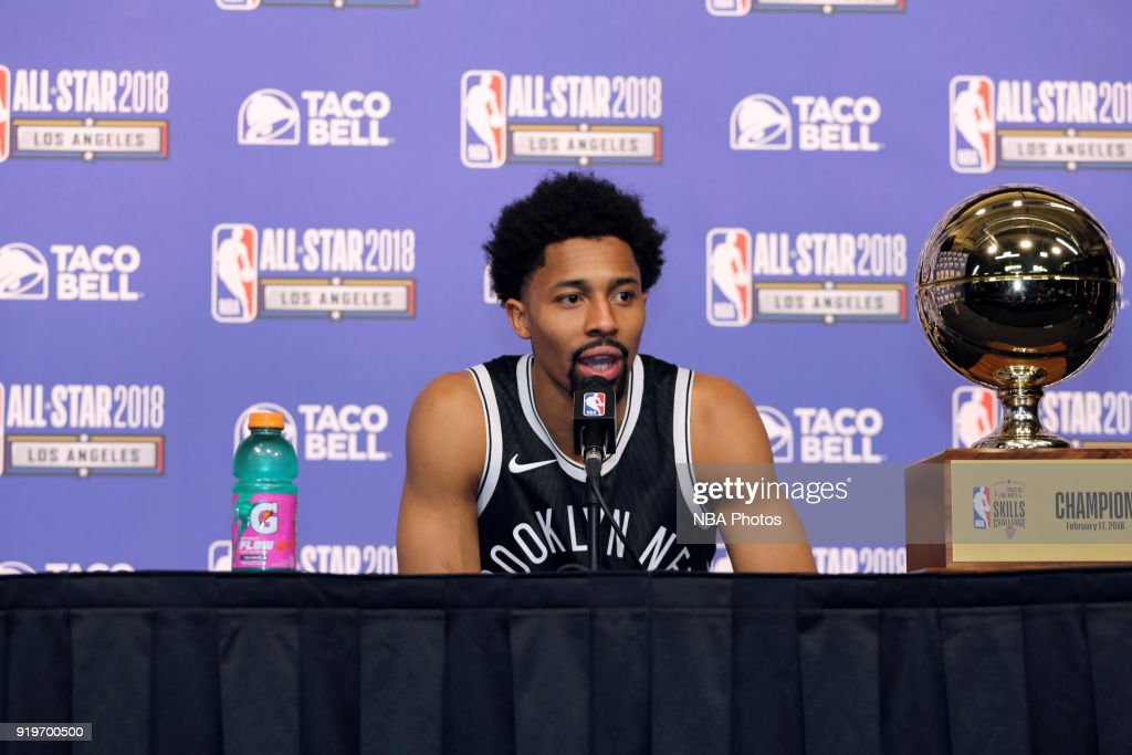 Spencer Dinwiddie #8 of the Brooklyn Nets speaks at a press-conference following his victory in the Taco Bell Skills Challenge during State Farm All-Star Saturday Night as part of the 2018 NBA All-Star Weekend on February 17, 2018 at STAPLES Center in Los Angeles, California.