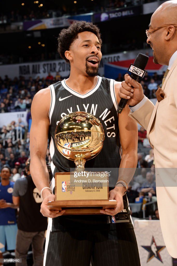 Spencer Dinwiddie #8 of the Brooklyn Nets talks with the media after the Taco Bell Skills Challenge during State Farm All-Star Saturday Night as part of the 2018 NBA All-Star Weekend on February 17, 2018 at STAPLES Center in Los Angeles, California.