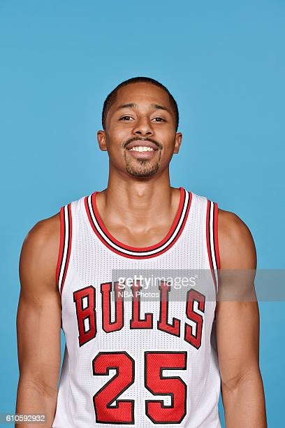 Spencer Dinwiddie of the Chicago Bulls poses for a head shot during the 20162017 Chicago Bulls Media Day on September 26 2016 at the Advocate Center...