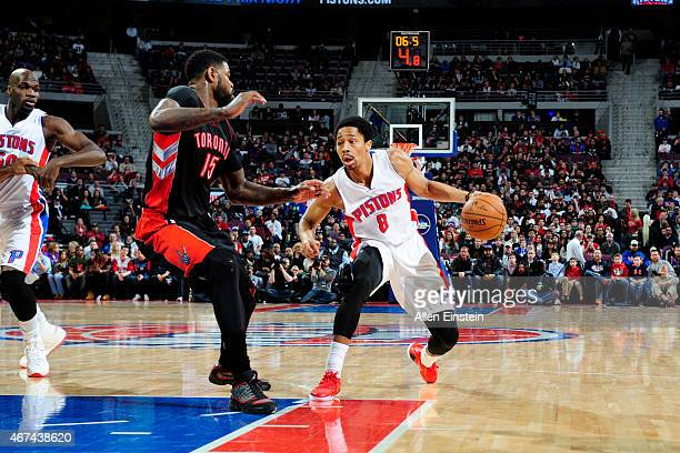 Spencer Dinwiddie of the Detroit Pistons drives to the basket against the Toronto Raptors during the game on March 24 2015 at The Palace of Auburn...