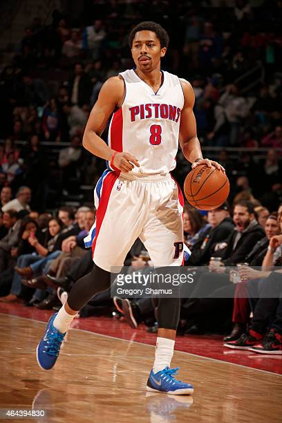 Spencer Dinwiddie of the Detroit Pistons handles the ball against the Cleveland Cavaliers on February 24 2015 at The Palace of Auburn in Hills in...