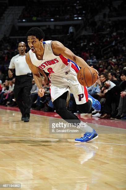 Spencer Dinwiddie of the Detroit Pistons handles the ball against the Chicago Bulls on March 21 2015 at the Palace of Auburn Hills in Auburn Hills...