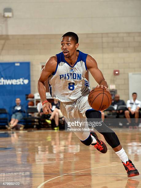 Spencer Dinwiddie of the Detroit Pistons handles the ball against the Indiana Pacers on July 8 2015 at Amway Center in Orlando Florida NOTE TO USER...