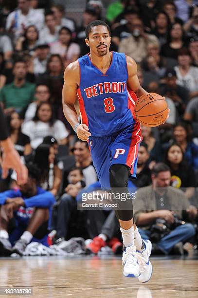 Spencer Dinwiddie of the Detroit Pistons handles the ball against the San Antonio Spurs during a preseason game on October 18 2015 at the ATT Center...