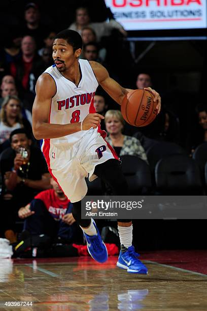 Spencer Dinwiddie of the Detroit Pistons handles the ball against the Atlanta Hawks on October 23 2015 at The Palace of Auburn Hills in Auburn Hills...