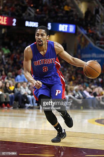 Spencer Dinwiddie of the Detroit Pistons in action against the Cleveland Cavaliers at Quicken Loans Arena on April 13 2016 in Cleveland Ohio The...