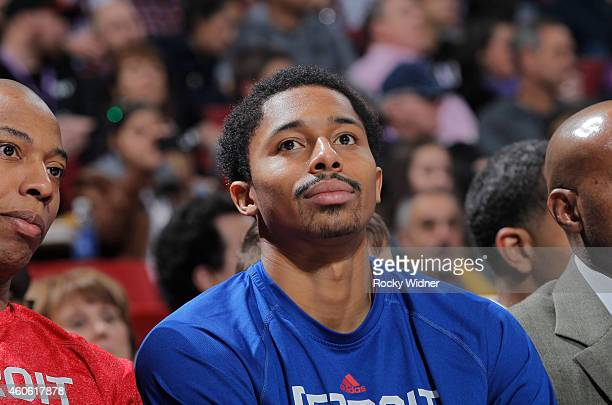 Spencer Dinwiddie of the Detroit Pistons looks on during the game against the Sacramento Kings on December 13 2014 at Sleep Train Arena in Sacramento...