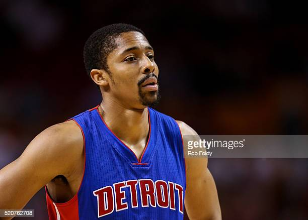 Spencer Dinwiddie of the Detroit Pistons looks on during the game against the Miami Heat at the American Airlines Arena on April 5 2016 in Miami...