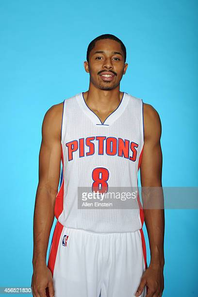 Spencer Dinwiddie of the Detroit Pistons poses during Detroit Pistons Media Day on September 29 2014 in Auburn Hills Michigan NOTE TO USER User...