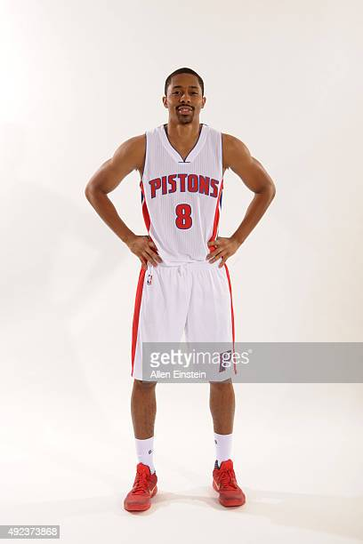 Spencer Dinwiddie of the Detroit Pistons poses during media day on September 28 2015 at The Palace of Auburn Hills in Auburn Hills Michigan NOTE TO...