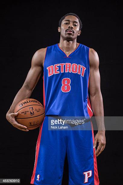 Spencer Dinwiddie of the Detroit Pistons poses for a portrait during the 2014 NBA rookie photo shoot at MSG Training Center on August 3 2014 in...