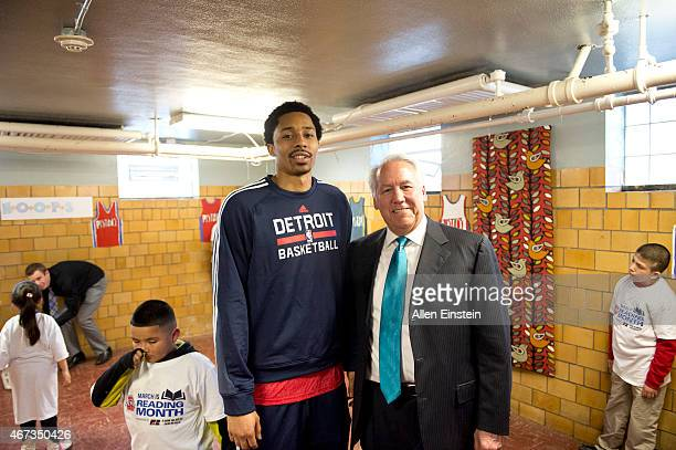 Spencer Dinwiddie of the Detroit Pistons reads to the children and families to promote the importance of literacy and education on March 16 2015 at...
