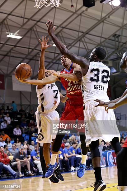 Spencer Dinwiddie of the Grand Rapids Drive shoots a layup against the Austin Spurs during the NBA DLeague Showcase game on January 15 2015 at Kaiser...