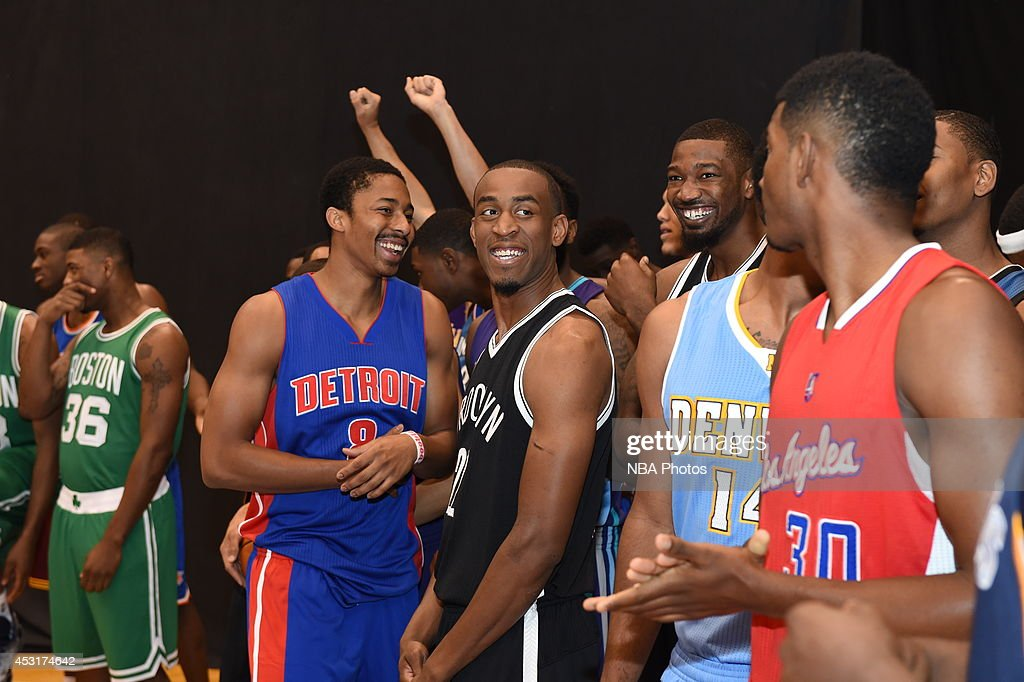 Spencer Diwiddie #8 of the Detroit Pistons and <a gi-track='captionPersonalityLinkClicked' href=/galleries/search?phrase=Markel+Brown&family=editorial&specificpeople=7542399 ng-click='$event.stopPropagation()'>Markel Brown</a> #22 of the Brooklyn Nets behind the scenes during the 2014 NBA rookie photo shoot on August 3, 2014 at the Madison Square Garden Training Facility in Tarrytown, New York.