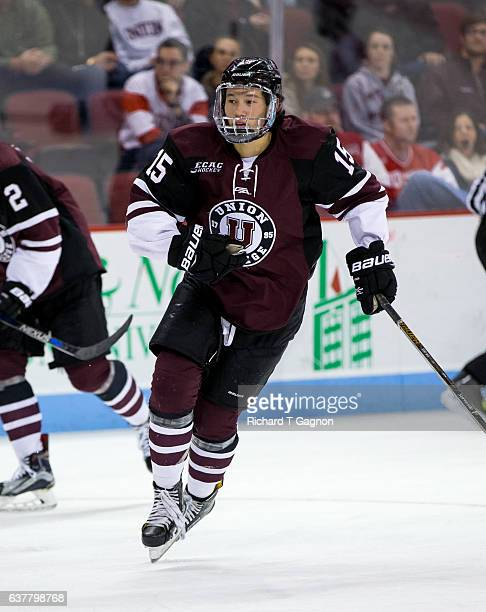 Spencer Foo of the Union College Dutchmen skates against the Boston University Terriers during NCAA hockey at Agganis Arena on January 5 2017 in...