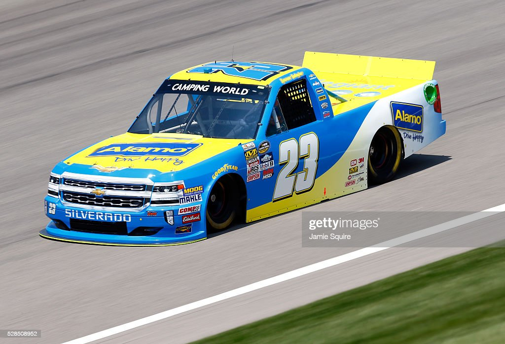 Spencer Gallagher, driver of the #23 Alamo Chevrolet, practices for the NASCAR Camping World Truck Series 16th Annual Toyota Tundra 250 on May 05, 2016 in Kansas City, Kansas.
