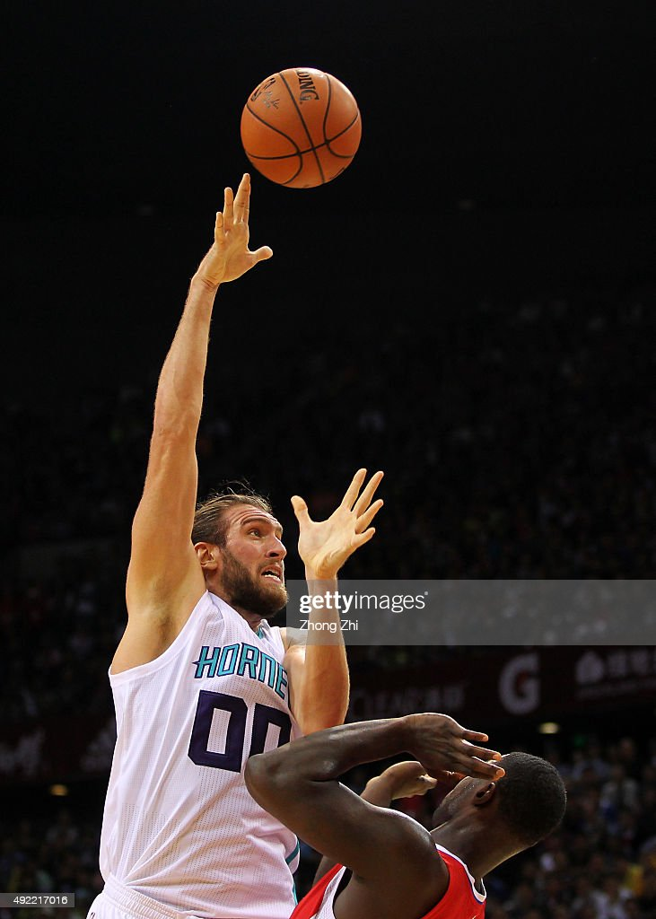 Spencer Hawes of Charlotte Hornets in action during the match between Charlotte Hornets and Los Angeles Clippers as part of the 2015 Global Games...