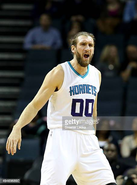 Spencer Hawes of the Charlotte Hornets during their game at Time Warner Cable Arena on October 19 2015 in Charlotte North Carolina NOTE TO USER User...