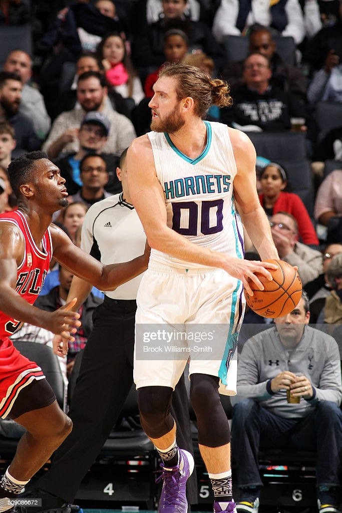 <a gi-track='captionPersonalityLinkClicked' href=/galleries/search?phrase=Spencer+Hawes&family=editorial&specificpeople=3848319 ng-click='$event.stopPropagation()'>Spencer Hawes</a> #00 of the Charlotte Hornets handles the ball during the game against the Chicago Bulls on February 8, 2016 at Time Warner Cable Arena in Charlotte, North Carolina.