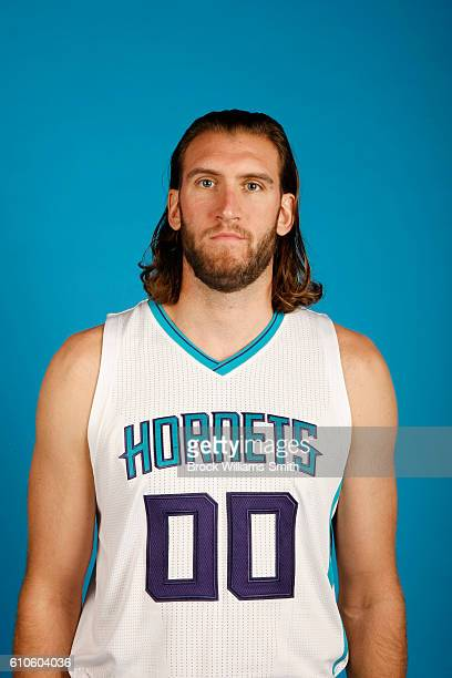 Spencer Hawes of the Charlotte Hornets poses for a head shot during the 20162017 Charlotte Hornets Media Day at the Time Warner Cable Arena on...