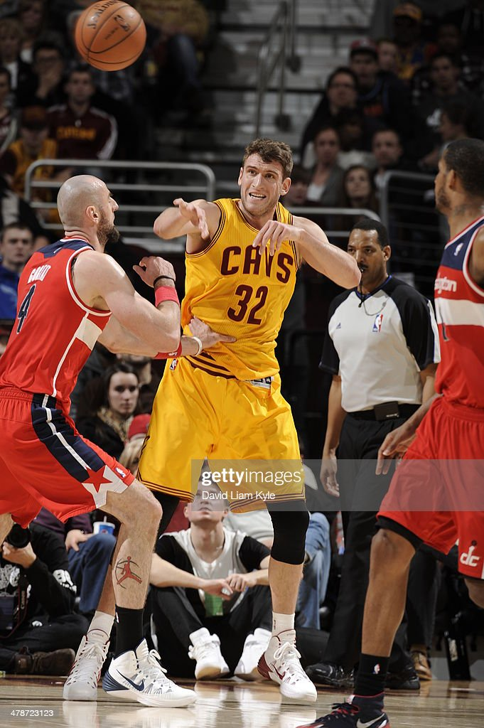 <a gi-track='captionPersonalityLinkClicked' href=/galleries/search?phrase=Spencer+Hawes&family=editorial&specificpeople=3848319 ng-click='$event.stopPropagation()'>Spencer Hawes</a> #32 of the Cleveland Cavaliers makes a pass against the Washington Wizards at The Quicken Loans Arena on February 23, 2014 in Cleveland, Ohio.