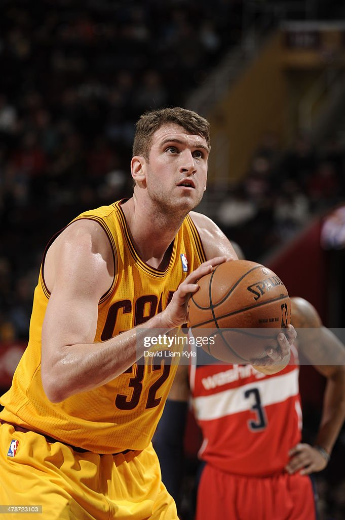 <a gi-track='captionPersonalityLinkClicked' href=/galleries/search?phrase=Spencer+Hawes&family=editorial&specificpeople=3848319 ng-click='$event.stopPropagation()'>Spencer Hawes</a> #32 of the Cleveland Cavaliers takes a free throw against the Washington Wizards at The Quicken Loans Arena on February 23, 2014 in Cleveland, Ohio.