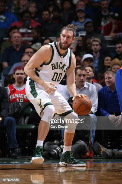 Spencer Hawes of the Milwaukee Bucks handles the ball during the game against the New York Knicks on March 8 2017 at the BMO Harris Bradley Center in...