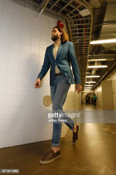 Spencer Hawes of the Milwaukee Bucks is seen before the game against the Toronto Raptors during Game Four of the Eastern Conference Quarterfinals of...