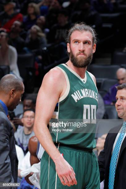 Spencer Hawes of the Milwaukee Bucks looks on during the game against the Sacramento Kings on March 22 2017 at Golden 1 Center in Sacramento...