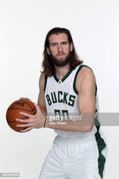 Spencer Hawes of the Milwaukee Bucks pose for portraits before the Milwaukee Bucks game on February 13 2017 at the BMO Harris Bradley Center in...