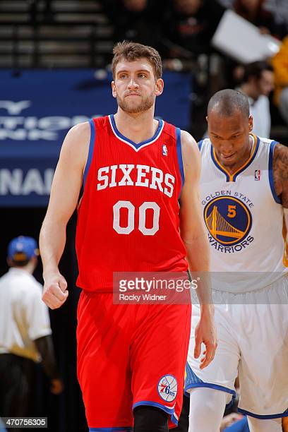 Spencer Hawes of the Philadelphia 76ers in a game against the Golden State Warriors on February 10 2014 at Oracle Arena in Oakland California NOTE TO...