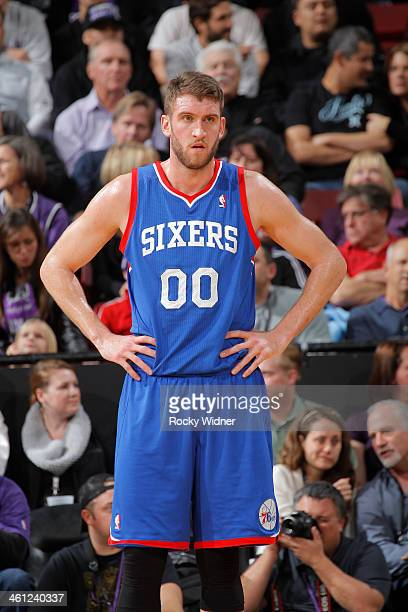 Spencer Hawes of the Philadelphia 76ers in a game against the Sacramento Kings on January 2 2014 at Sleep Train Arena in Sacramento California NOTE...
