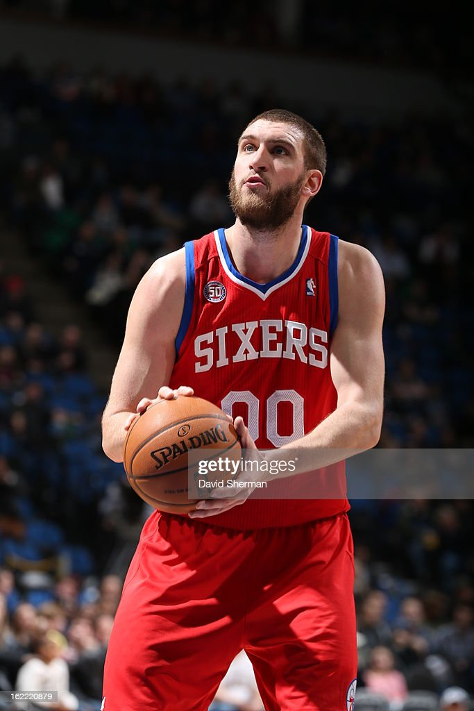 Spencer Hawes #00 of the Philadelphia 76ers prepares for a free throw during the game between Philadelphia 76ers and the Minnesota Timberwolves on February 20, 2013 at Target Center in Minneapolis, Minnesota.