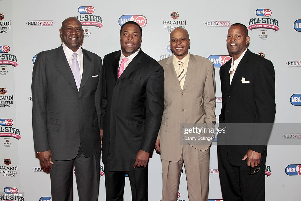 <a gi-track='captionPersonalityLinkClicked' href=/galleries/search?phrase=Spencer+Haywood&family=editorial&specificpeople=538778 ng-click='$event.stopPropagation()'>Spencer Haywood</a>, <a gi-track='captionPersonalityLinkClicked' href=/galleries/search?phrase=Cedric+Ceballos&family=editorial&specificpeople=235791 ng-click='$event.stopPropagation()'>Cedric Ceballos</a>, <a gi-track='captionPersonalityLinkClicked' href=/galleries/search?phrase=Bonzi+Wells&family=editorial&specificpeople=201897 ng-click='$event.stopPropagation()'>Bonzi Wells</a> and Dale Ellis at the NBA on TNT All-Star Saturday Night Party, Presented by Bacardi Pineapple Fusion at House Of Blues on February 16, 2013 in Houston, Texas.
