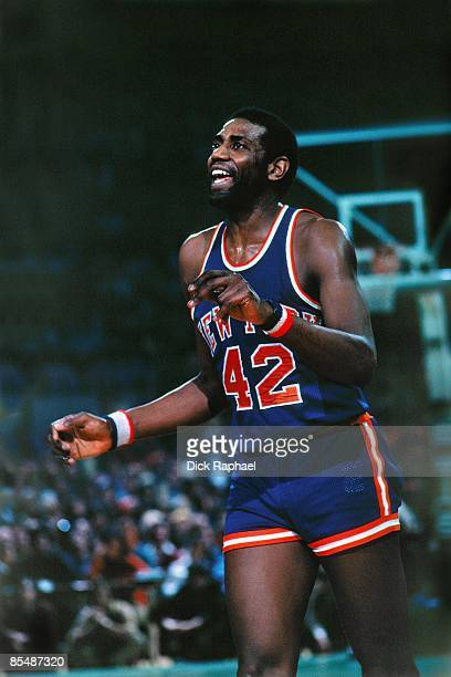 Spencer Haywood of the New York Knicks moves on the court against the Boston Celtics during a game played in 1977 at the Boston Garden in Boston...